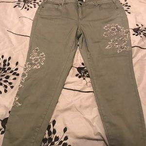 Lane Bryant Gray Beaded Skinny Jeans
